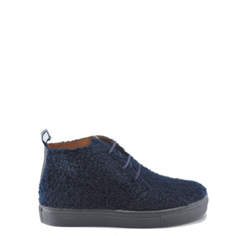 Atlanta Mocassin Navy Shearling Sneaker Bootie-Tassel Children Shoes