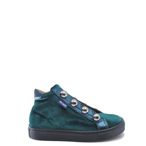 Atlanta Mocassin Dark Green Velvet Studded Sneaker Bootie-Tassel Children Shoes