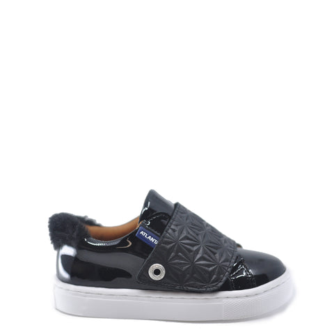 Atlanta Mocassin Black Patent Velcro Sneaker-Tassel Children Shoes