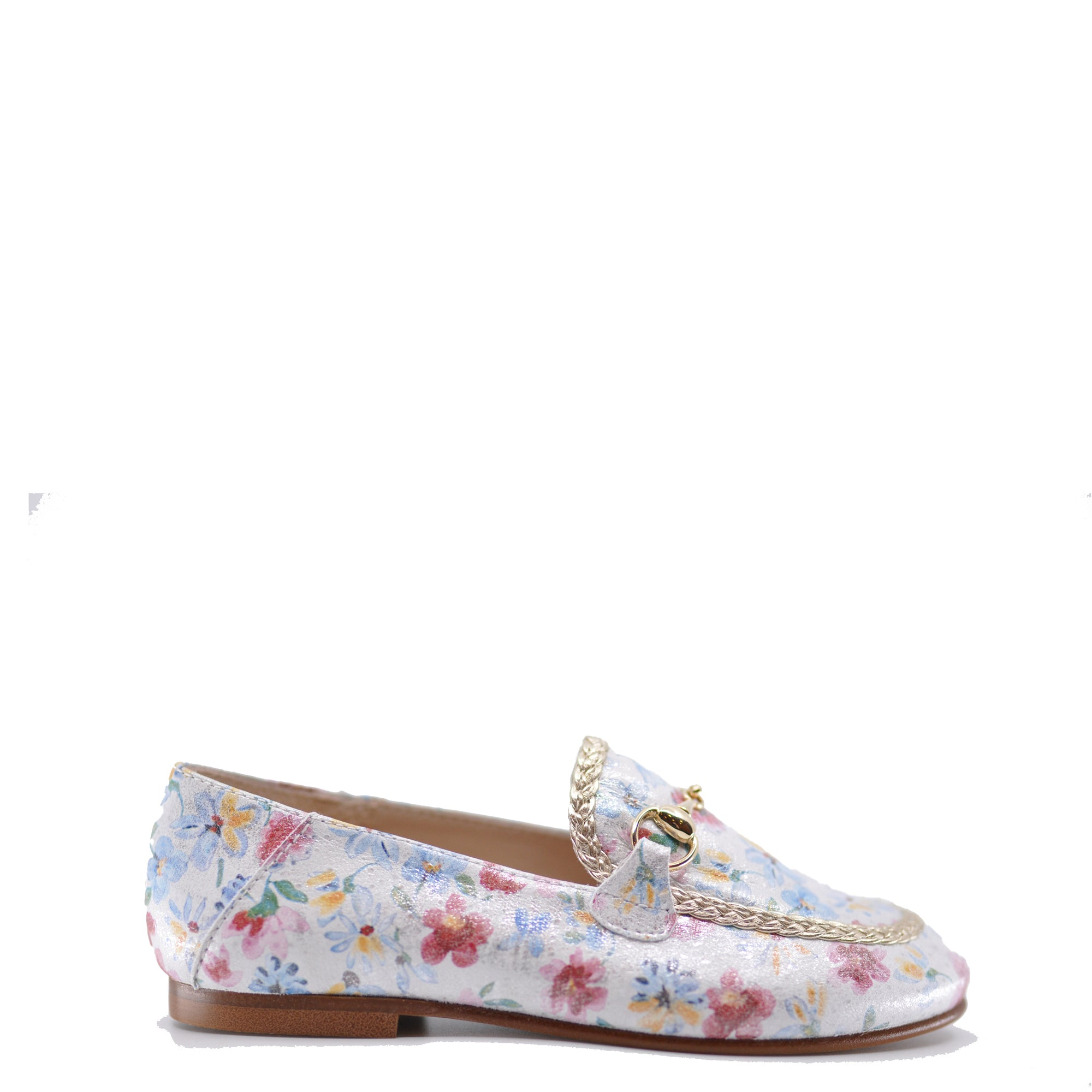 Beberlis White Floral Buckle Loafer-Tassel Children Shoes