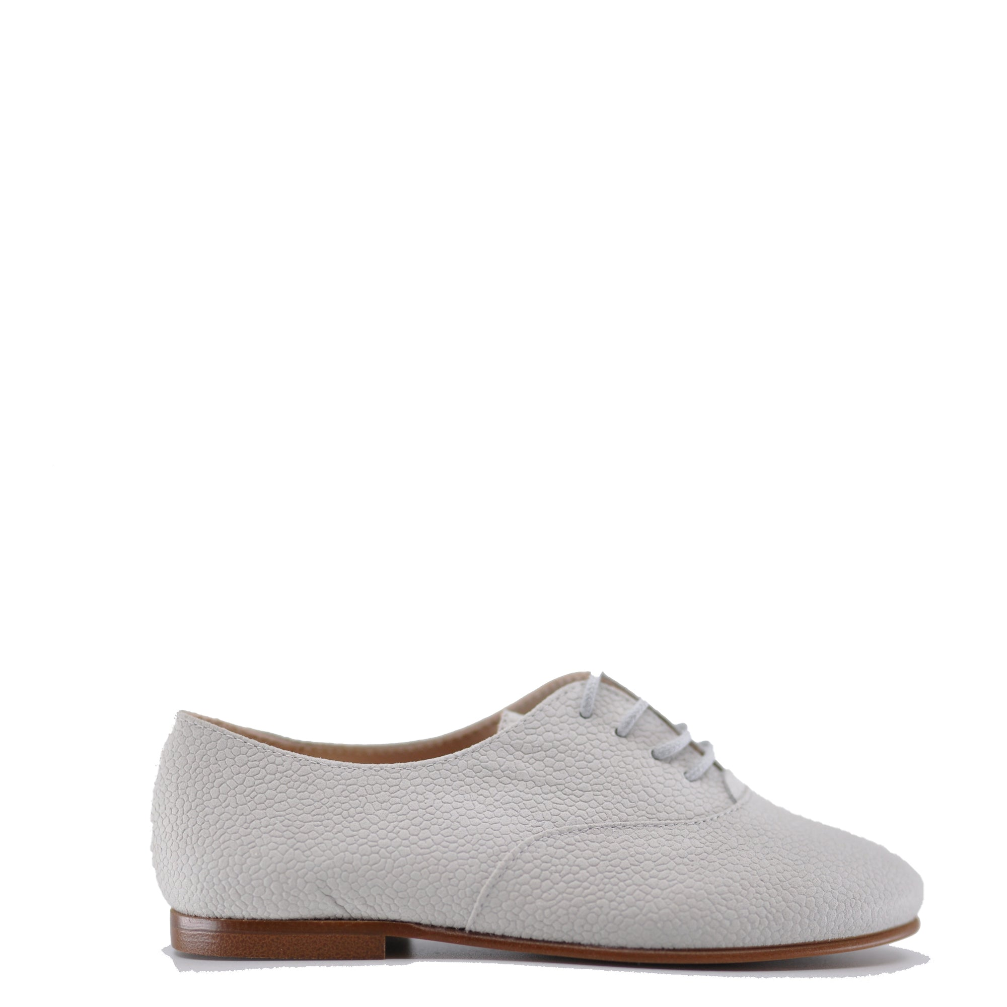 Beberlis Gray Pebbled Leather Derby-Tassel Children Shoes
