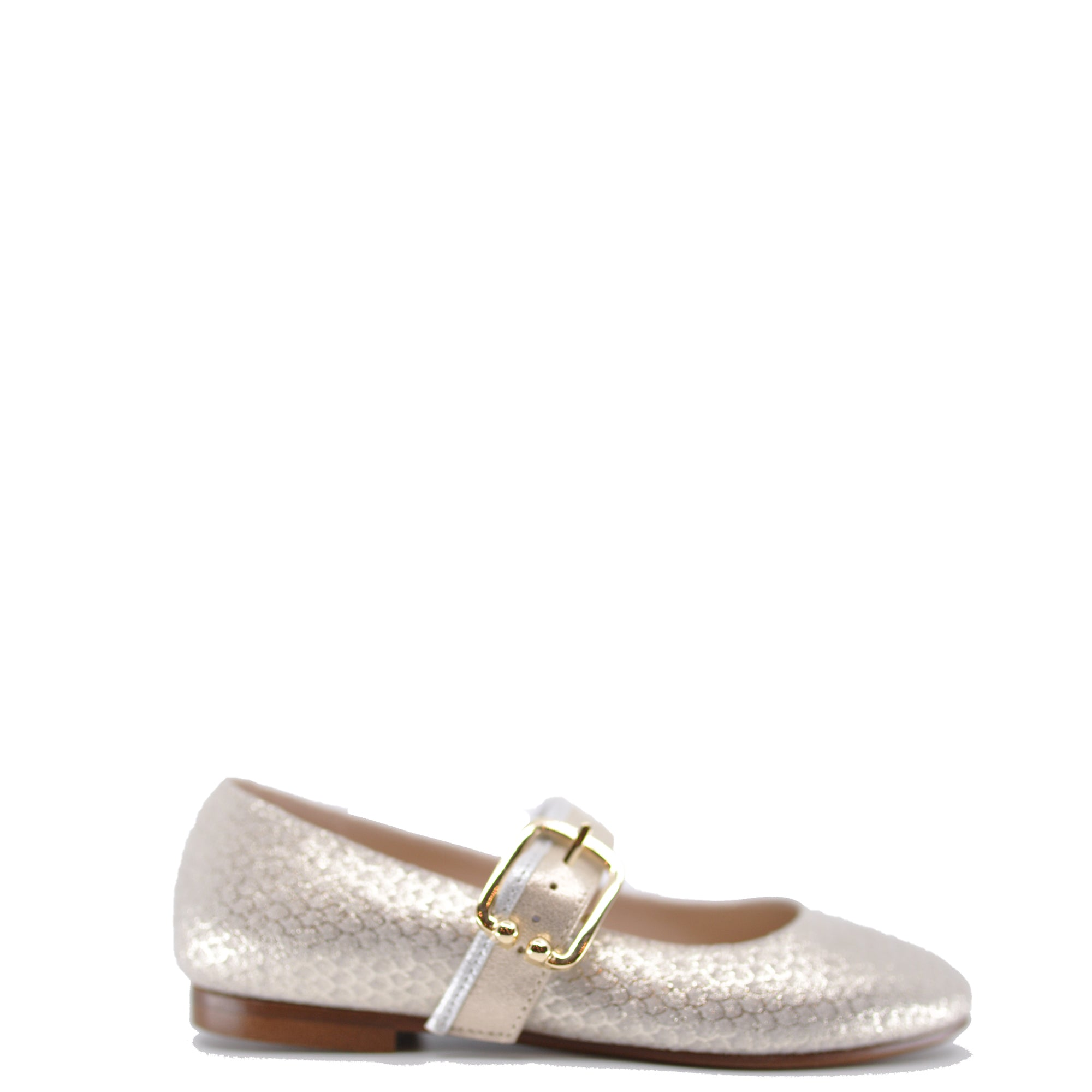 Beberlis Scalloped Gold Metallic Buckle Mary Jane-Tassel Children Shoes