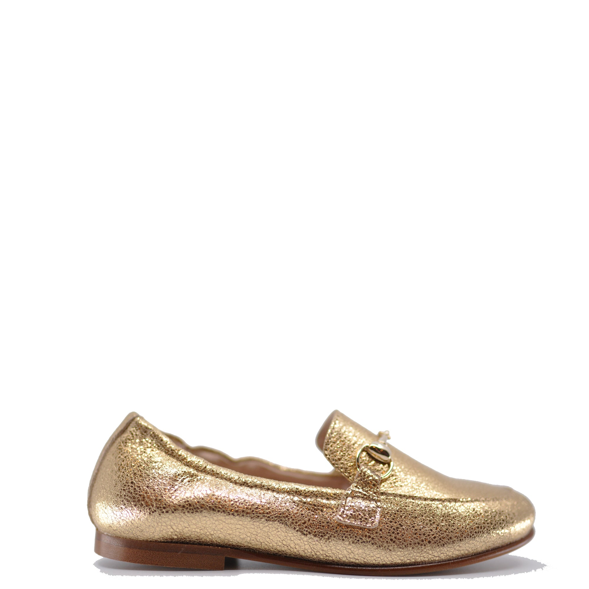 Beberlis Gold Metallic Loafer-Tassel Children Shoes