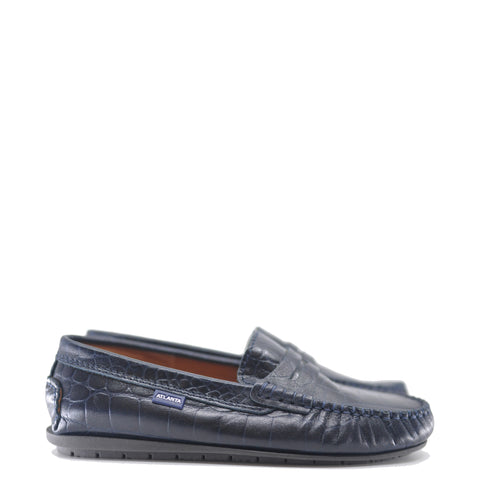 Atlanta Mocassin Navy Croc Penny Loafer-Tassel Children Shoes