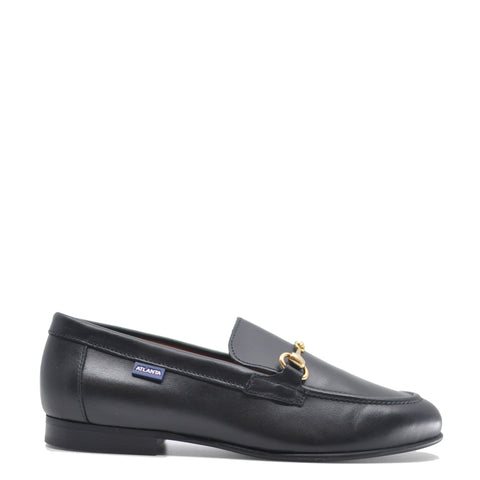 Atlanta Mocassin Black Leather Buckle Dress Shoe-Tassel Children Shoes