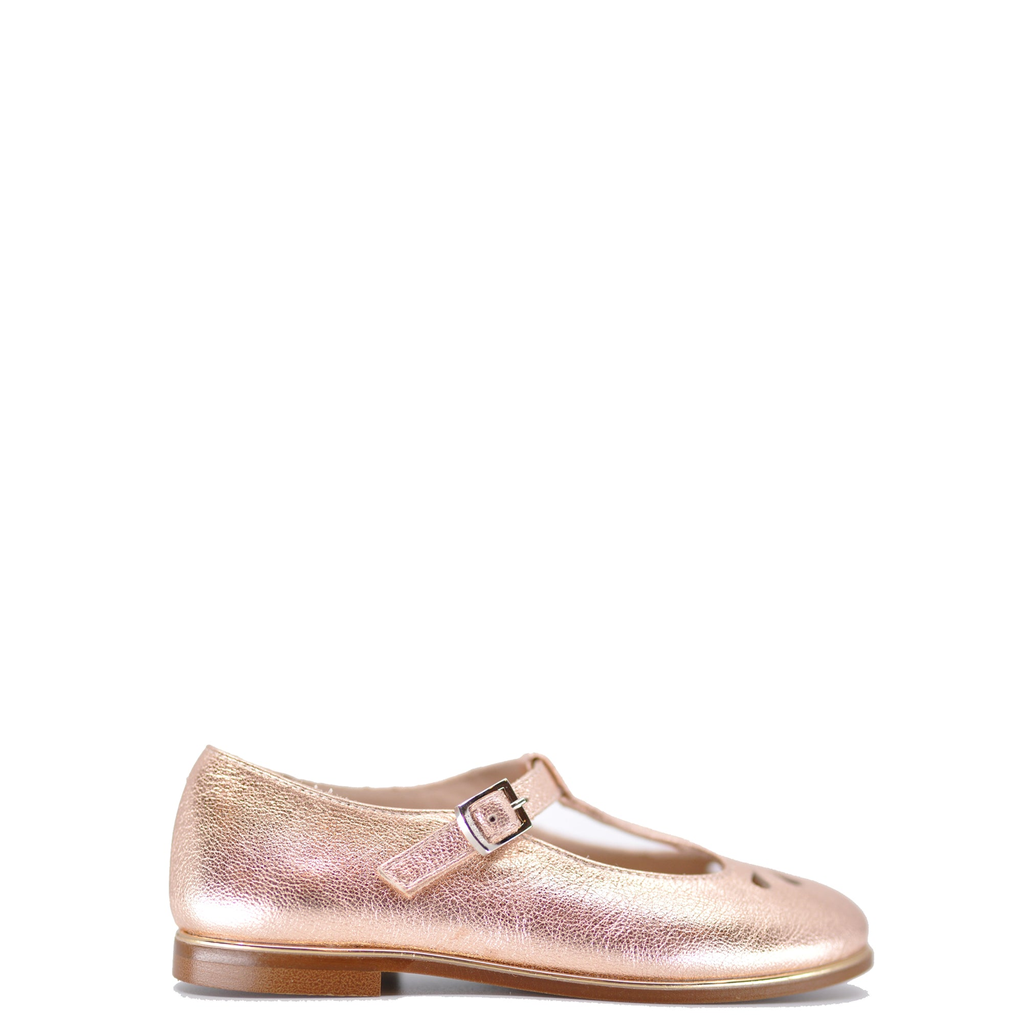 Beberlis Rose Gold Perforated T-Strap Mary Jane-Tassel Children Shoes