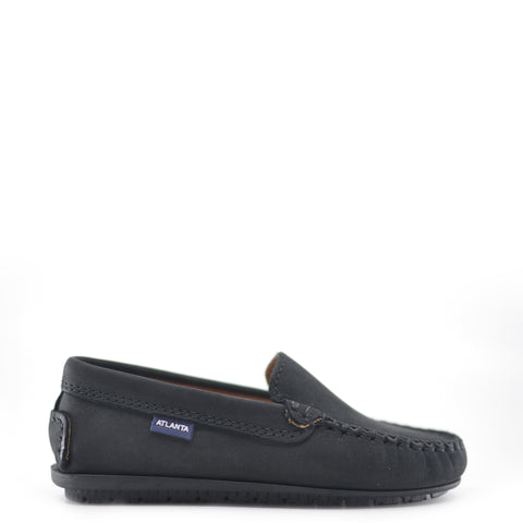 Atlanta Mocassin Black Nubok Loafer-Tassel Children Shoes