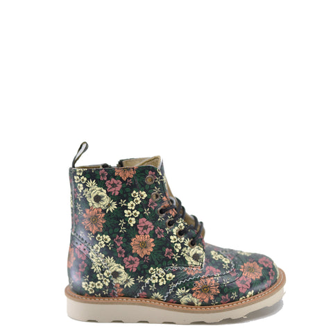 Young Soles Floral Leather Boot-Tassel Children Shoes