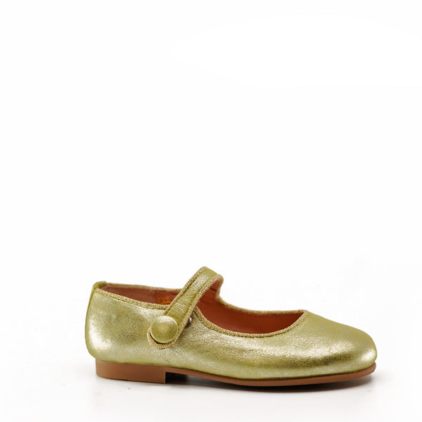 Ruth Gold Metal Mary Jane-Tassel Children Shoes