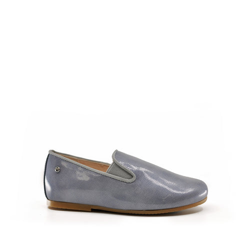 Manuela Patent Blue/Gray Loafer-Tassel Children Shoes