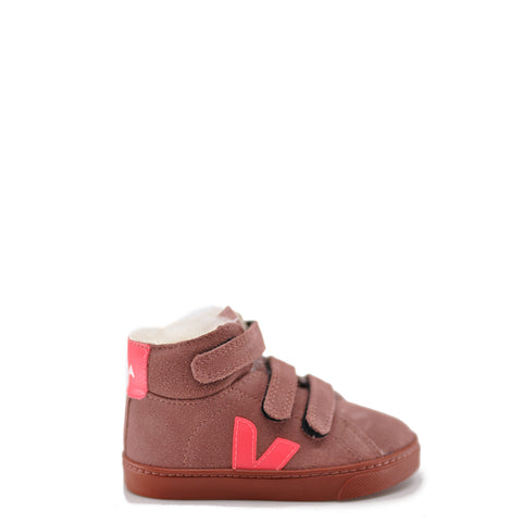 Veja Rose Suede Fur Lined Hightop Sneaker-Tassel Children Shoes