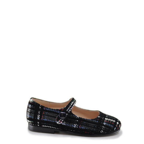 Beberlis Black Plaid Mary Jane-Tassel Children Shoes