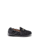 Beberlis Grey Printed Velvet Buckle Loafer-Tassel Children Shoes