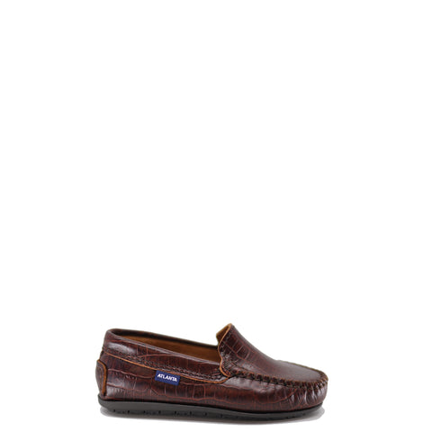 Atlanta Mocassin Brown Crocodile Loafer-Tassel Children Shoes