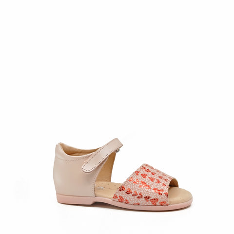 Nens Pink/Red Heart Print Sandal-Tassel Children Shoes