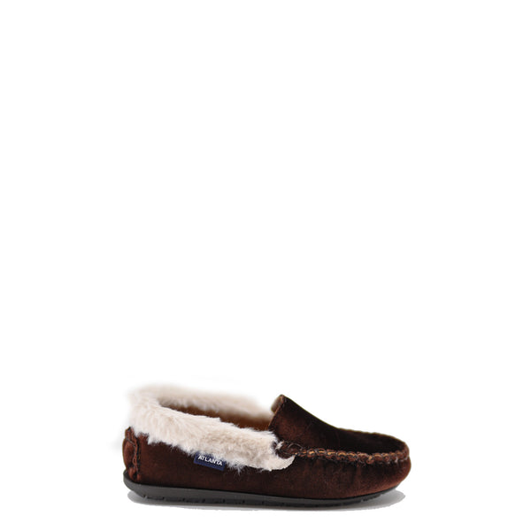 Atlanta Mocassin Chocolate Velvet and Fur Loafer-Tassel Children Shoes