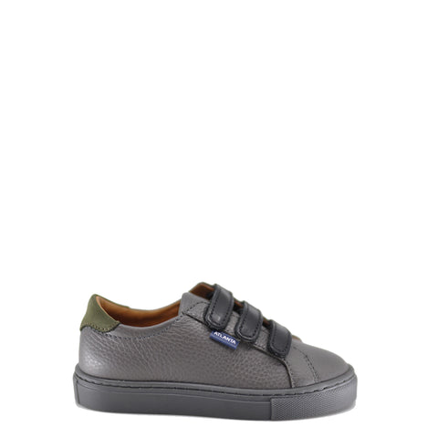 Atlanta Mocassin Grey and Black Leather Velcro Sneaker-Tassel Children Shoes