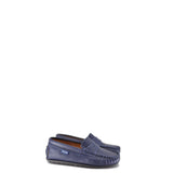 Atlanta Mocassin Navy Textured Leather Penny Loafer-Tassel Children Shoes
