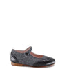 LMDI Black Leather and Gray Tweed Mary Jane-Tassel Children Shoes
