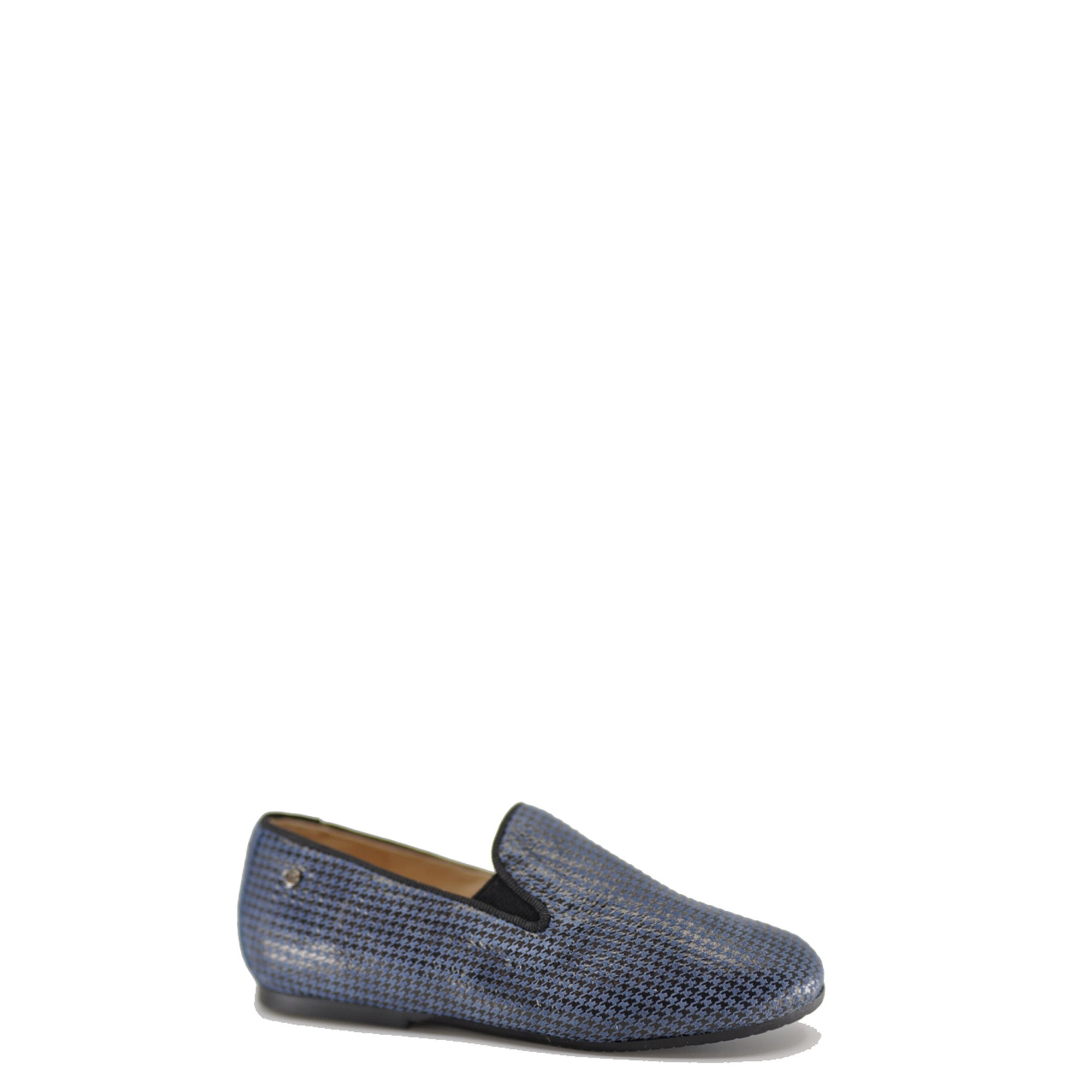 Manuela Blue Houndstooth Smoking Loafer-Tassel Children Shoes