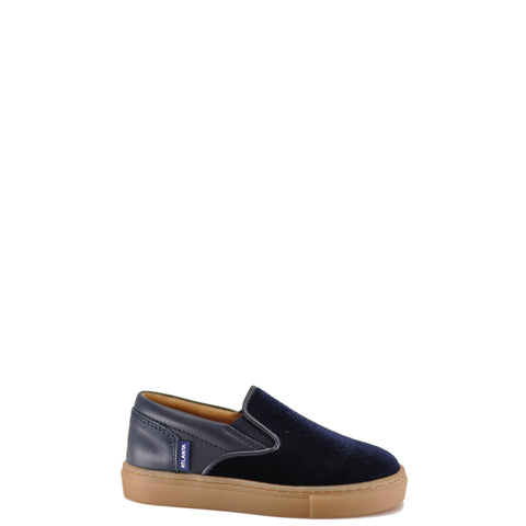 Atlanta Mocassin Navy Velvet and Leather Slip-On Sneaker-Tassel Children Shoes