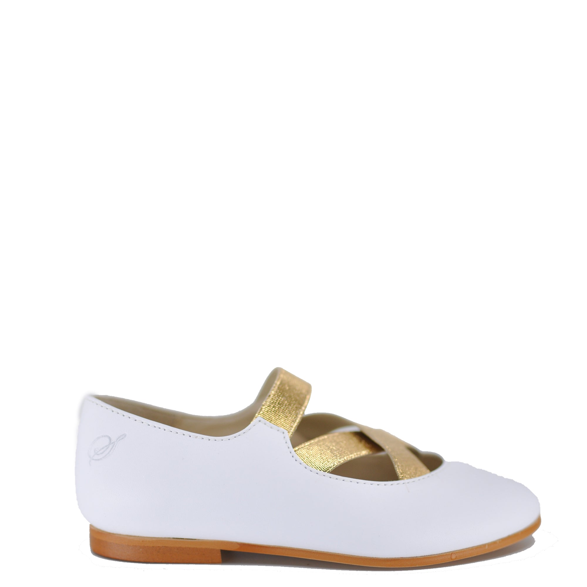 Sonatina White and Gold Criss Cross Ballet Shoe-Tassel Children Shoes