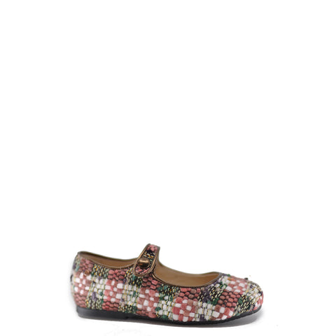 Manuela Rose Wool Plaid Mary Jane-Tassel Children Shoes