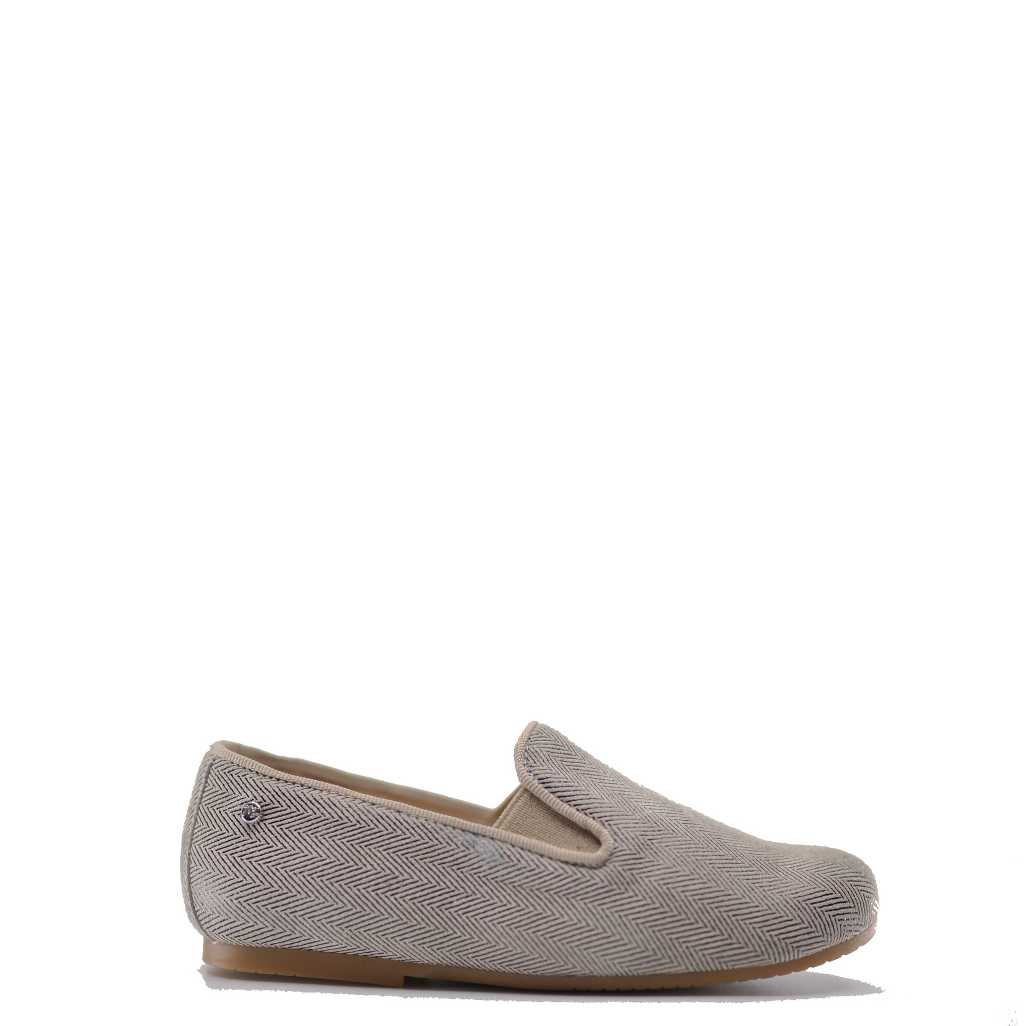 Manuela Taupe Herringbone Smoking Loafer-Tassel Children Shoes