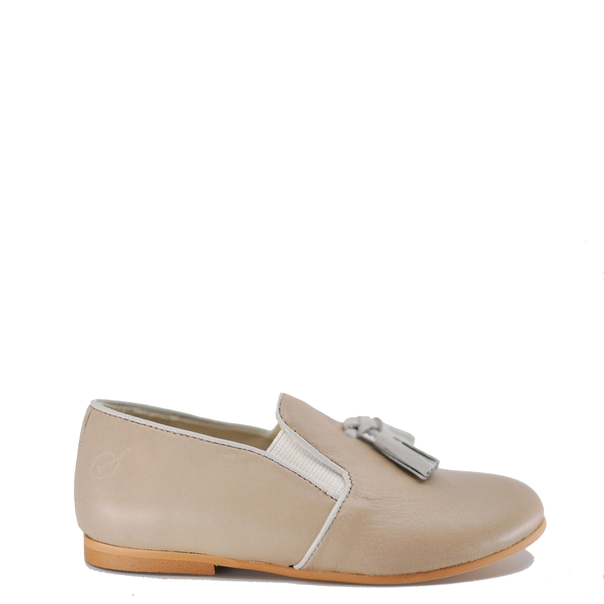 Sonatina Taupe Tassel Slip On Loafer-Tassel Children Shoes