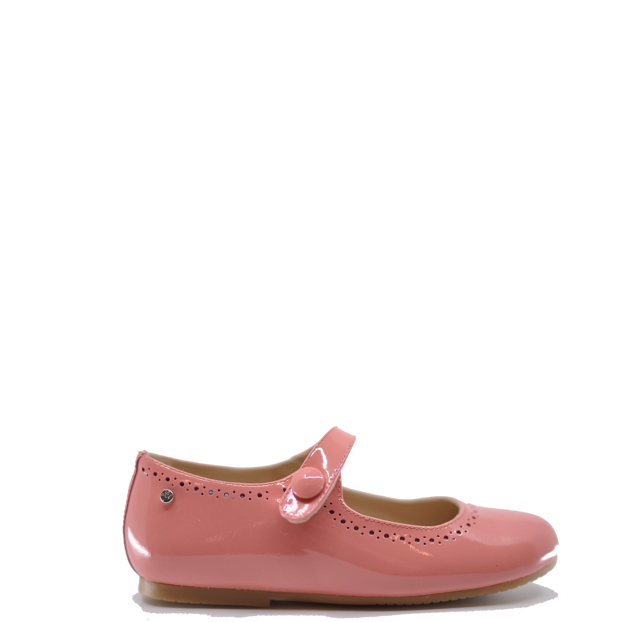 Manuela Coral Patent Perforated Mary Jane-Tassel Children Shoes