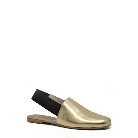 Hoo Gold Leather Mule-Tassel Children Shoes