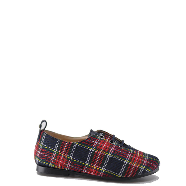 Manuela Scotland Plaid Navy Derby-Tassel Children Shoes