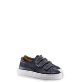 Atlanta Mocassin Navy Leather and Jean Velcro Sneaker-Tassel Children Shoes