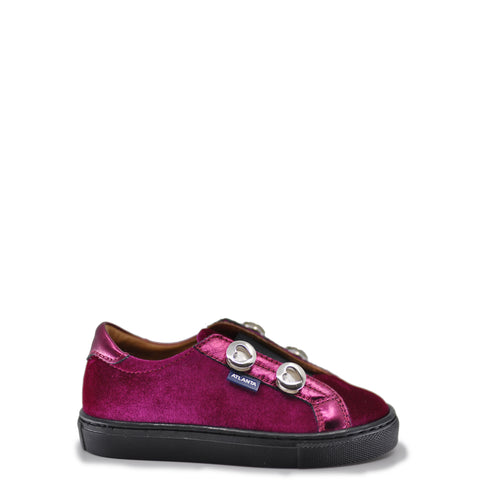 Atlanta Mocassin Pink Velvet Slip-On Sneaker-Tassel Children Shoes
