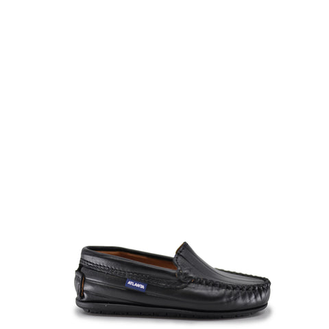 Atlanta Mocassin Black Leather Line Loafer-Tassel Children Shoes