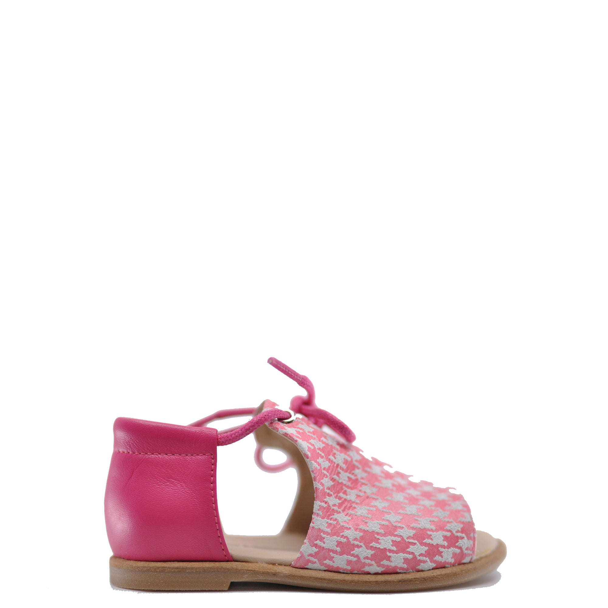 Manuela Pink Houndstooth Baby Sandal-Tassel Children Shoes