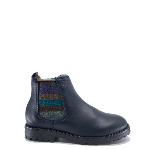 Acebos Navy Leather Rainbow Elastic Boot-Tassel Children Shoes