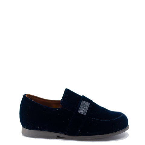 Pepe Navy Velvet Logo Slip On Shoe-Tassel Children Shoes