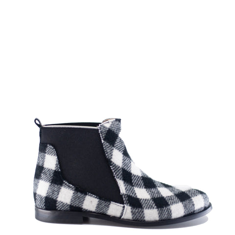 Blublonc Black and White Plaid Slip On Bootie-Tassel Children Shoes