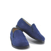Blublonc Navy Nubock Perforated Smoking Loafer-Tassel Children Shoes