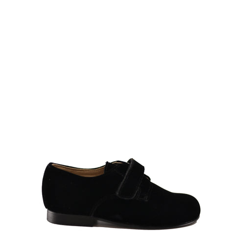Beberlis Black Velvet Velcro Oxford-Tassel Children Shoes