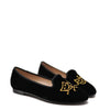 Beberlis Black Velvet and Gold Mask Smoking Loafer-Tassel Children Shoes