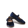 Beberlis Navy Quilted Velvet Mary Jane-Tassel Children Shoes