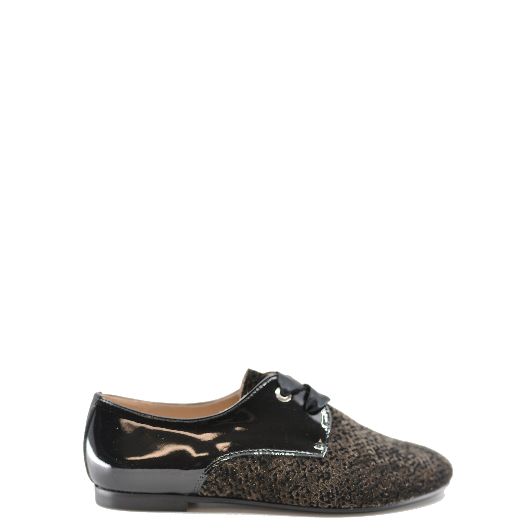 Beberlis Taupe Velvet and Black Patent Oxford-Tassel Children Shoes
