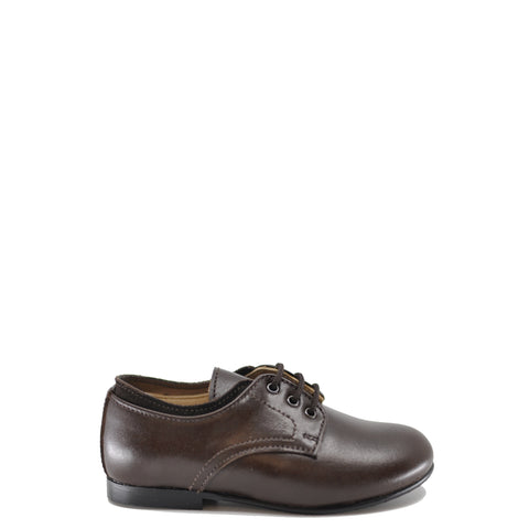 Beberlis Brown Leather Laceup Oxford-Tassel Children Shoes