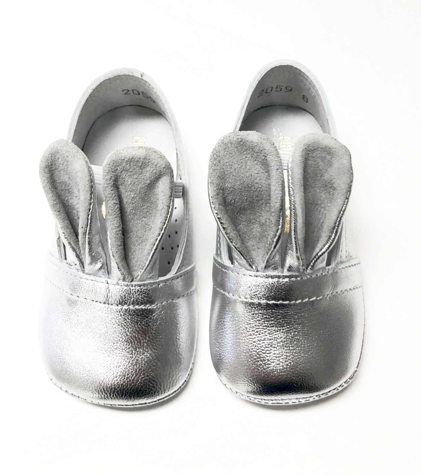 Lmdi Collection Silver Leather Baby Bunny Shoe Tassel Children Shoes