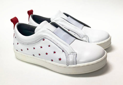Blublonc White and Red Star Slip-On Sneaker-Tassel Children Shoes