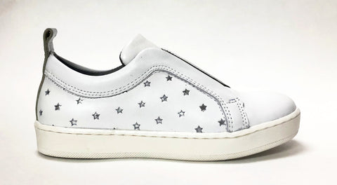 Blublonc White and Silver Star Sneaker-Tassel Children Shoes