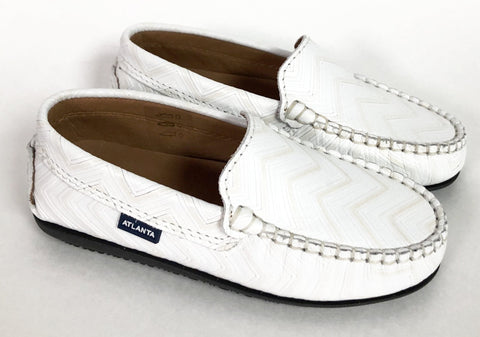 Atlanta Mocassin White Textured Leather Loafer-Tassel Children Shoes