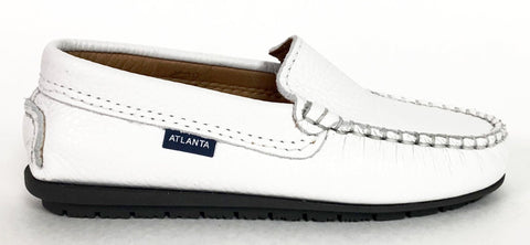 Atlanta Mocassin White Pebbled Loafer-Tassel Children Shoes